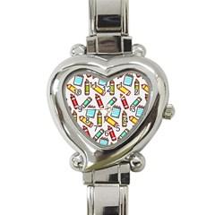 Seamless Pixel Art Pattern Heart Italian Charm Watch