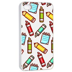 Seamless Pixel Art Pattern Apple iPhone 4/4s Seamless Case (White)