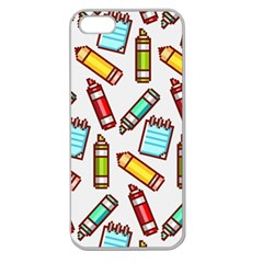 Seamless Pixel Art Pattern Apple Seamless Iphone 5 Case (clear)