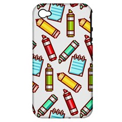 Seamless Pixel Art Pattern Apple Iphone 4/4s Hardshell Case (pc+silicone)