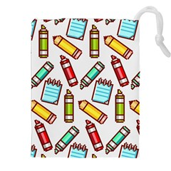 Seamless Pixel Art Pattern Drawstring Pouches (xxl)