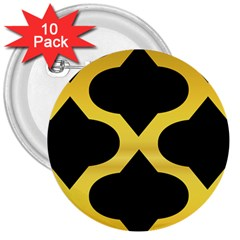 Seamless Gold Pattern 3  Buttons (10 Pack)