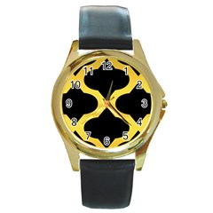 Seamless Gold Pattern Round Gold Metal Watch