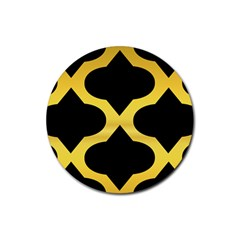 Seamless Gold Pattern Rubber Round Coaster (4 Pack)