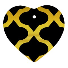 Seamless Gold Pattern Heart Ornament (2 Sides)