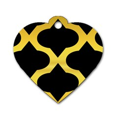 Seamless Gold Pattern Dog Tag Heart (two Sides)