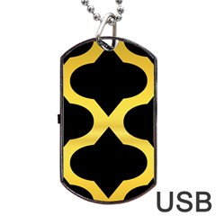 Seamless Gold Pattern Dog Tag Usb Flash (two Sides)