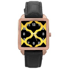Seamless Gold Pattern Rose Gold Leather Watch
