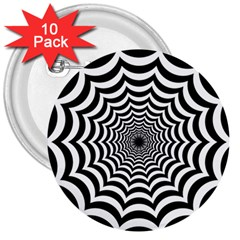 Spider Web Hypnotic 3  Buttons (10 Pack)