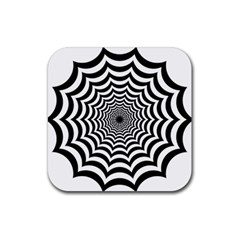 Spider Web Hypnotic Rubber Square Coaster (4 Pack)