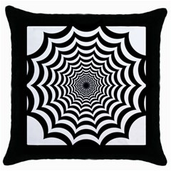 Spider Web Hypnotic Throw Pillow Case (black)