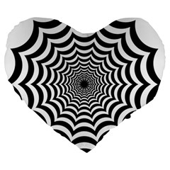 Spider Web Hypnotic Large 19  Premium Heart Shape Cushions
