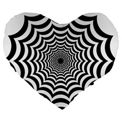 Spider Web Hypnotic Large 19  Premium Flano Heart Shape Cushions