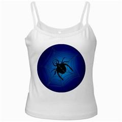 Spider On Web White Spaghetti Tank