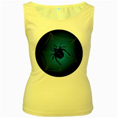Spider On Web Women s Yellow Tank Top