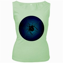 Spider On Web Women s Green Tank Top