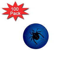 Spider On Web 1  Mini Magnets (100 Pack)