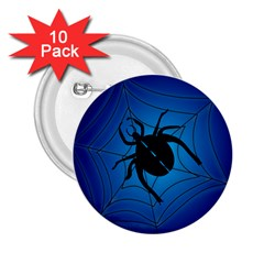 Spider On Web 2 25  Buttons (10 Pack)