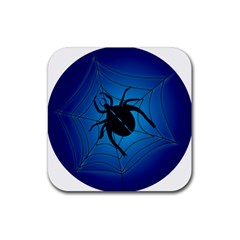 Spider On Web Rubber Square Coaster (4 Pack)