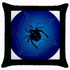 Spider On Web Throw Pillow Case (black)
