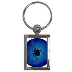 Spider On Web Key Chains (rectangle)