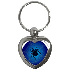 Spider On Web Key Chains (heart)