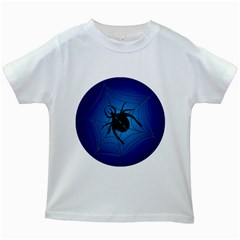 Spider On Web Kids White T Shirts