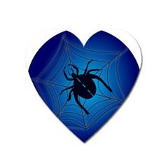 Spider On Web Heart Magnet