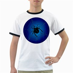 Spider On Web Ringer T Shirts