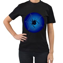 Spider On Web Women s T Shirt (black) (two Sided)