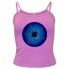 Spider On Web Dark Spaghetti Tank