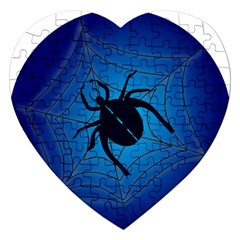 Spider On Web Jigsaw Puzzle (heart)