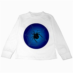 Spider On Web Kids Long Sleeve T-Shirts