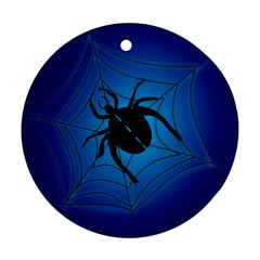 Spider On Web Round Ornament (two Sides)