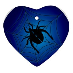 Spider On Web Heart Ornament (2 Sides)