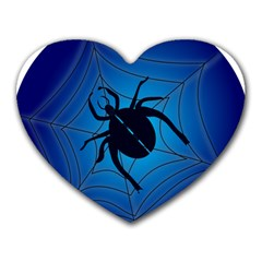 Spider On Web Heart Mousepads