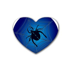 Spider On Web Rubber Coaster (heart)