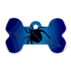 Spider On Web Dog Tag Bone (two Sides)