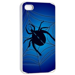 Spider On Web Apple Iphone 4/4s Seamless Case (white)