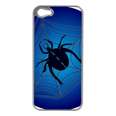 Spider On Web Apple iPhone 5 Case (Silver)