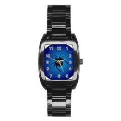 Spider On Web Stainless Steel Barrel Watch