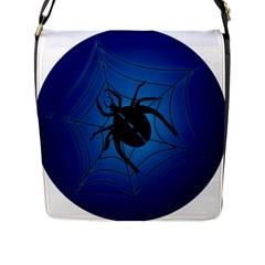 Spider On Web Flap Messenger Bag (l)