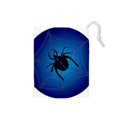 Spider On Web Drawstring Pouches (small)