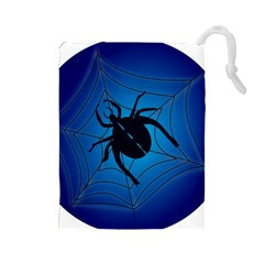 Spider On Web Drawstring Pouches (large)