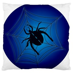 Spider On Web Large Flano Cushion Case (two Sides)