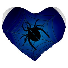 Spider On Web Large 19  Premium Flano Heart Shape Cushions