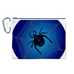 Spider On Web Canvas Cosmetic Bag (l)