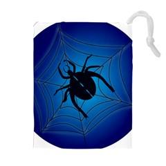 Spider On Web Drawstring Pouches (extra Large)