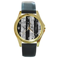 Whitney Museum Of American Art Round Gold Metal Watch