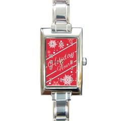 Winter Holiday Hours Rectangle Italian Charm Watch
